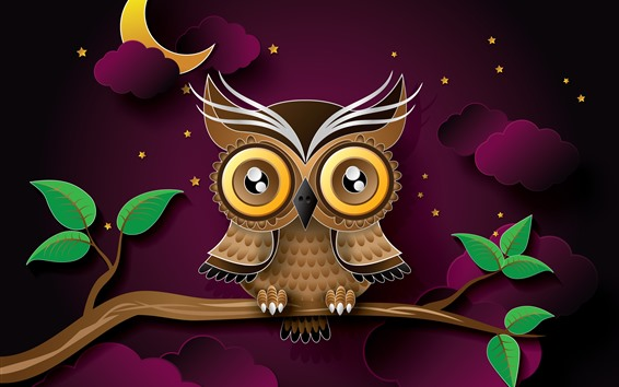 Wallpaper Owl, tree branch, leaves, clouds, night, moon, art picture