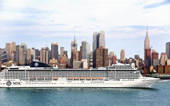 Обои Пассажирский лайнер, корабль, город, море