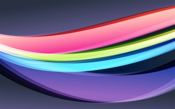 Wallpaper Rainbow colors, abstract curves