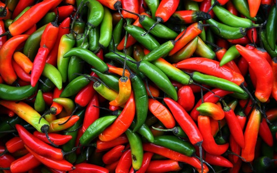 Wallpaper Red and green peppers, chilli, not fresh