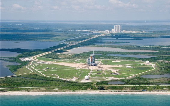 Wallpaper Satellite launch base, island