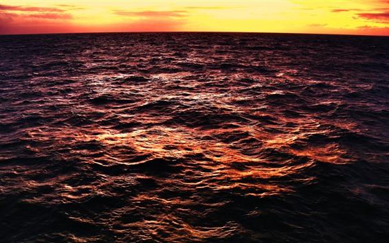 배경 화면 바다 파도, 황혼, 일몰, 바다