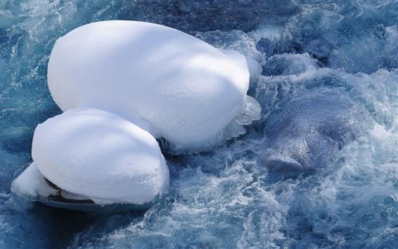 Wallpaper Snow, water, ice, foam, winter