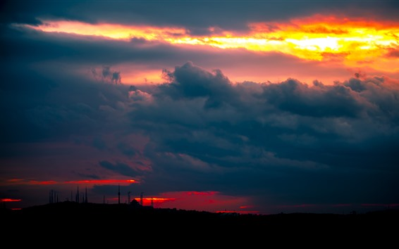 Wallpaper Sunset, thick clouds, towers, night