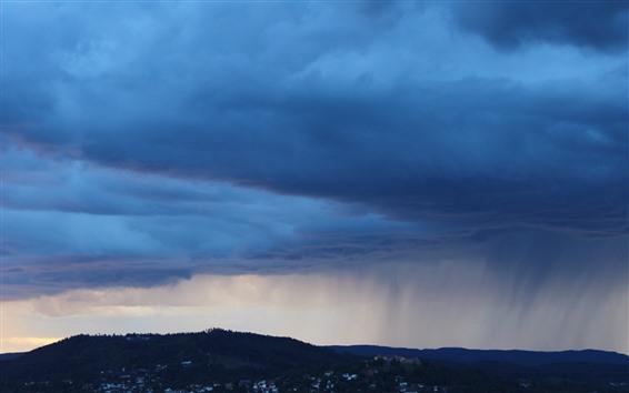 Hintergrundbilder Dicke Wolken, Stadt, Sturm