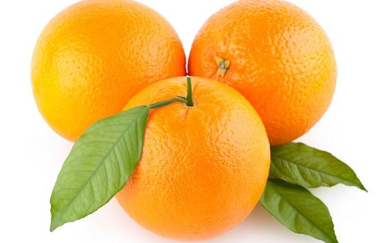 Обои Три апельсина, белый фон