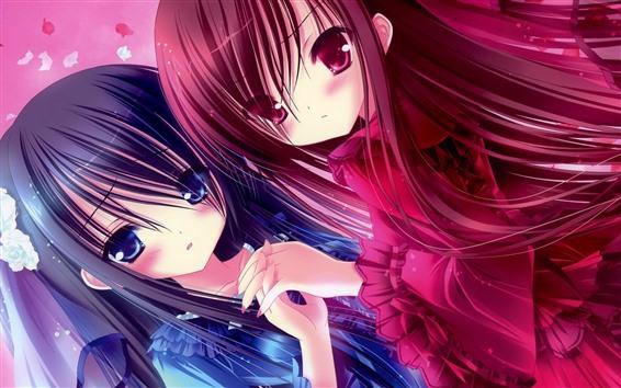 壁紙 2つのアニメの女の子、青と赤の髪