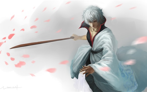 Wallpaper White hair anime boy, katana