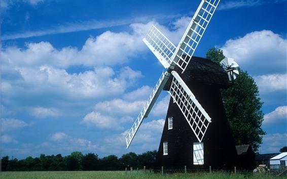 Wallpaper Windmill, fields, blue sky, clouds