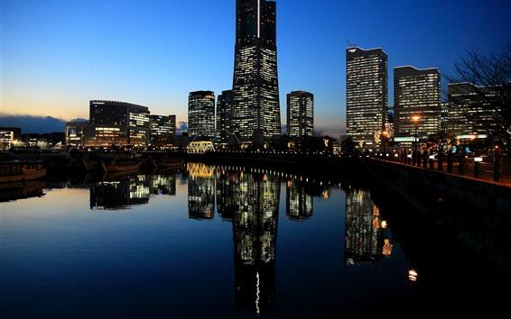 Papéis de Parede Yokohama, Japão, cidade, noite, luzes, rio, arranha-céus
