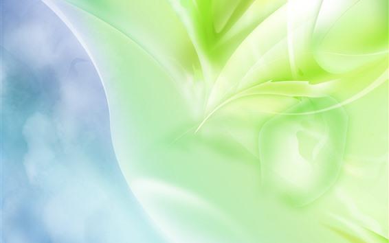 Обои Абстрактные зеленые листья, блики, креатив