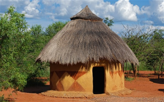 Wallpaper Africa, hut, trees, hot