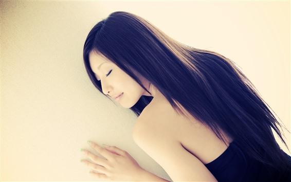 배경 화면 아시아 여자, 긴 머리, 수면