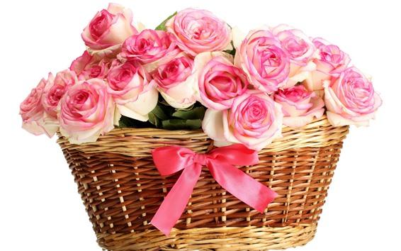 Обои Корзина, много розовых роз, белый фон