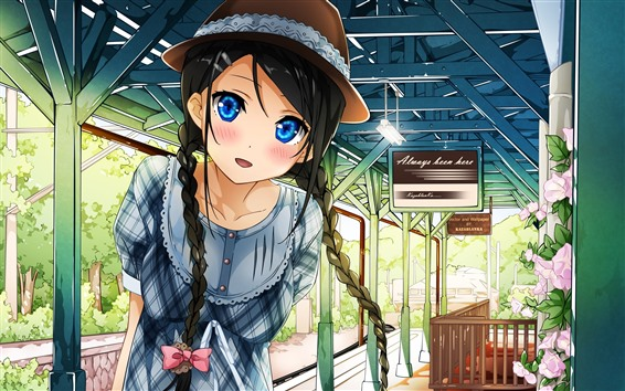 Wallpaper Blue eyes anime girl, rail station