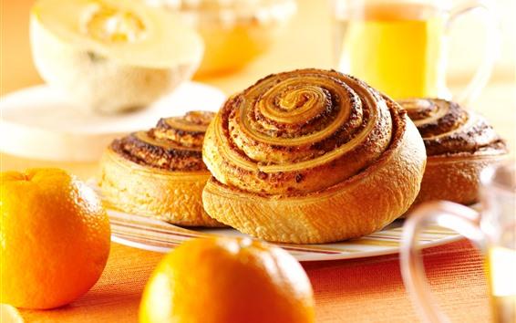 壁紙 パンとオレンジ、朝食