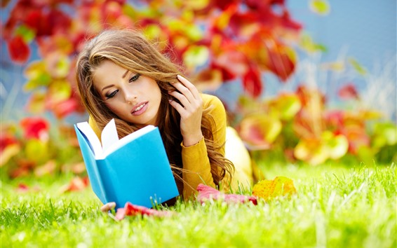Wallpaper Brown hair girl, reading book, grass