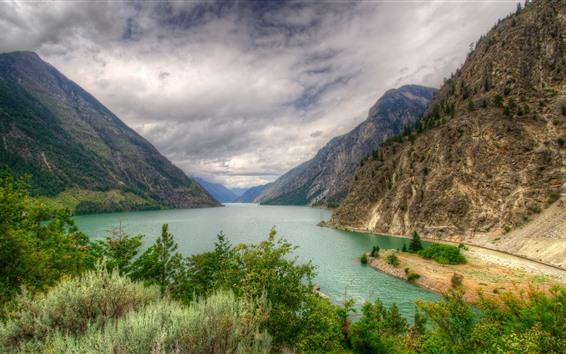 Papéis de Parede Canadá, montanha, lago, árvores, nuvens, natureza paisagem