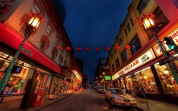 Wallpaper Chinatown, road, cars, store, lights, city, night, USA