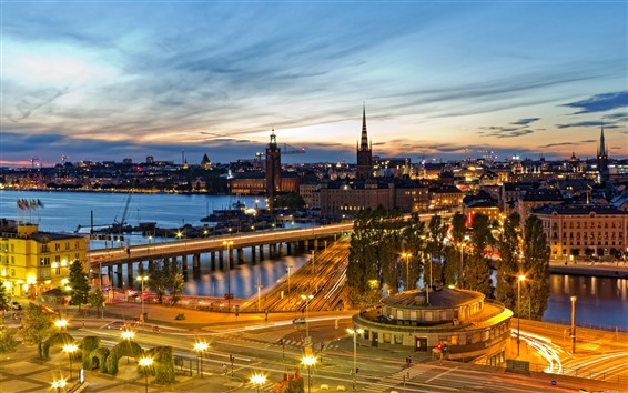 Wallpaper City night view, river, bridge, roads, lights, Stockholm, Sweden