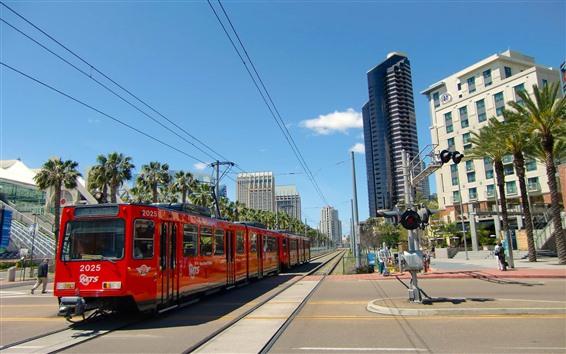 Fond d'écran Ville, tramway, piste, San Diego, USA