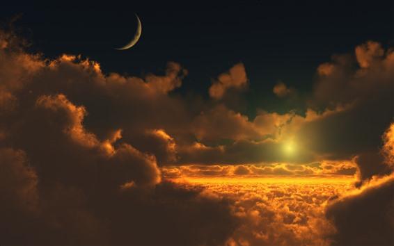 Обои Облака, закат, луна, небо