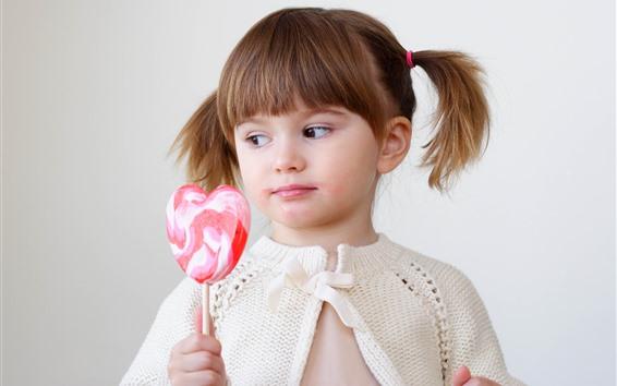 Fond d'écran Mignonne petite fille et bonbons