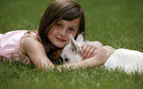 Wallpaper Cute little girl and white dog, grass