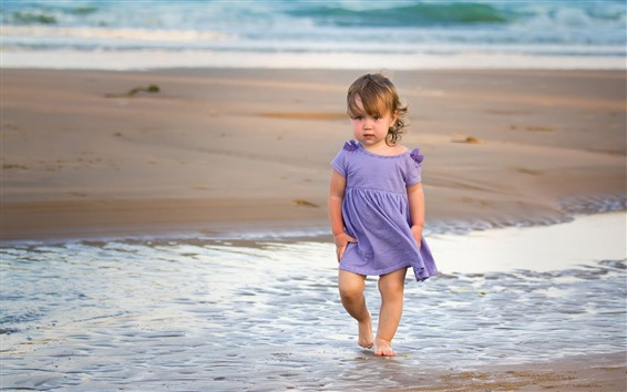 Wallpaper Cute little girl, beach, sea