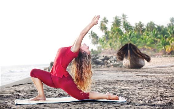 Papéis de Parede Garota dançando, ioga, praia, pose