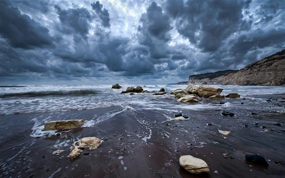 Wallpaper Dark clouds, coast, sea, rocks
