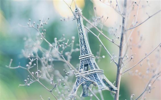 Papéis de Parede Estátua da Torre Eiffel, brinquedo, árvore, galhos