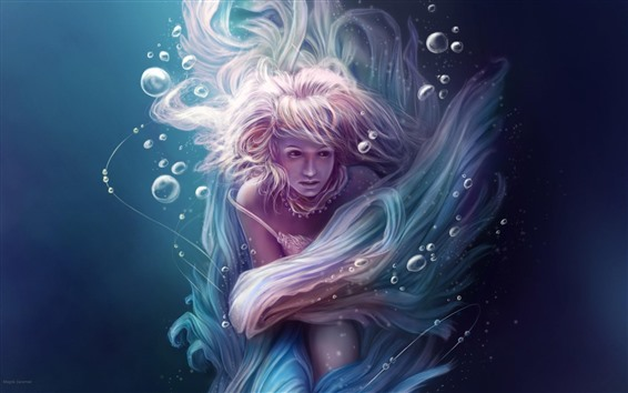 Обои Фэнтези девушка, под водой, розовые волосы, пузырьки