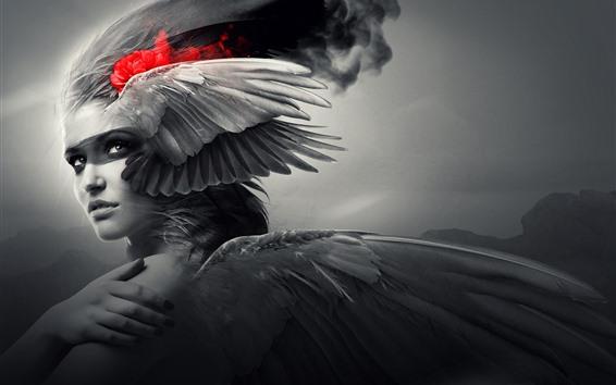 壁紙 ファンタジーの女の子、翼、天使