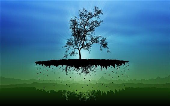 Wallpaper Float island, one tree, creative picture