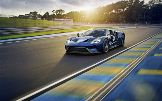 Wallpaper Ford blue sport car, speed, road