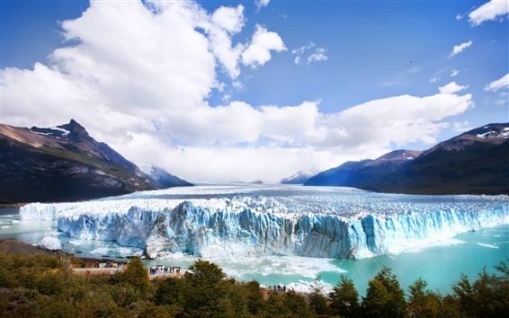 배경 화면 빙하, 빙산, 산, 구름