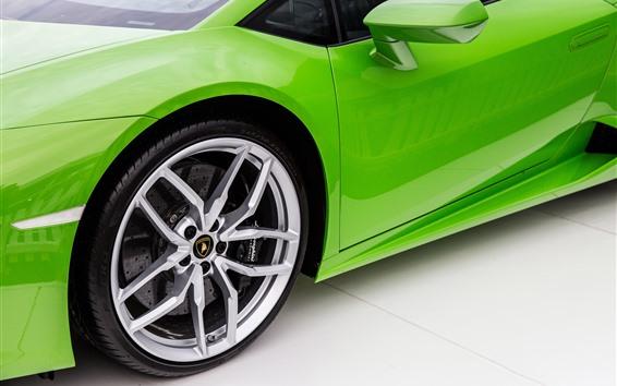 Wallpaper Green Lamborghini supercar, wheel