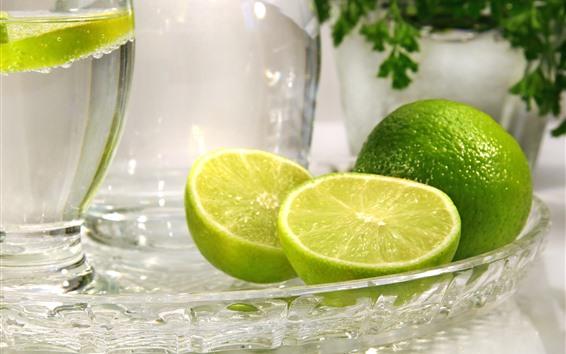 Wallpaper Green lemon, glass plate