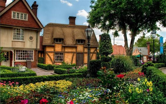 Wallpaper House, garden, trees