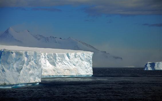 Papéis de Parede Icebergs, mar, Antártica