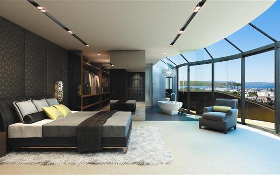 Fond d'écran Intérieur, chambre, lit, fenêtre, canapé, lumineux
