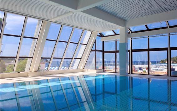 Wallpaper Interior pool, window, tropical, sea