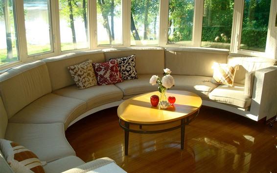 Обои Интерьер, комната, окно, диван, цветы, стол, яркий, солнечный свет