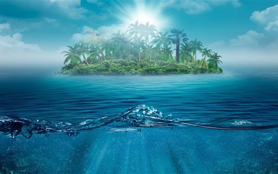Papéis de Parede Ilha, palmeiras, mar, sol, design criativo