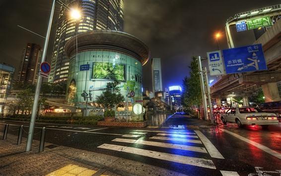 Wallpaper Japan, city, night, road, street, after rain, lights