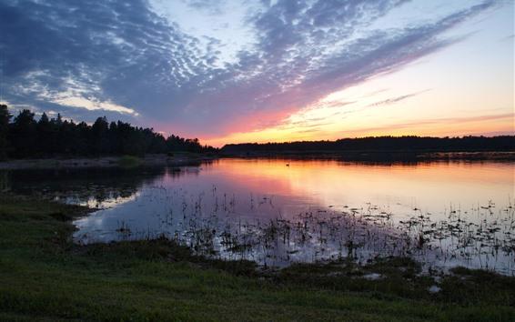 Fond d'écran Lac, coucher de soleil, ciel, nuages, crépuscule, cygne