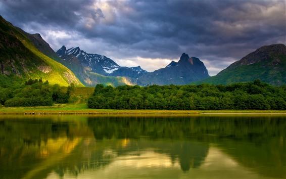 Wallpaper Lake, water reflection, mountains, clouds, beautiful nature landscape
