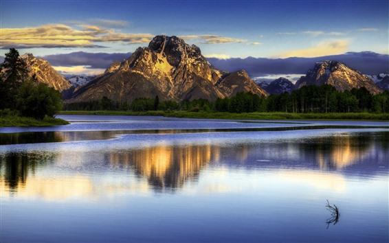 Обои Горы, озеро, облака, сумерки, природа