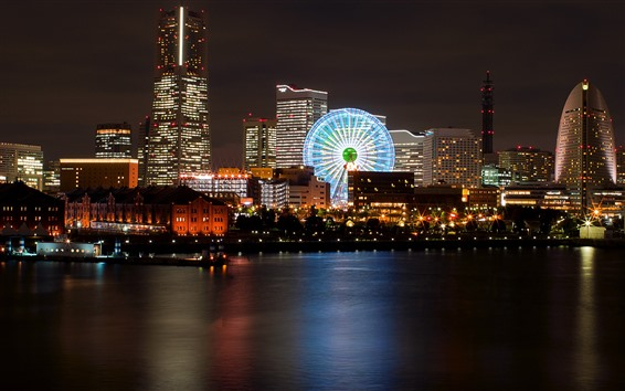 Wallpaper Night, city, river, ferris wheel, buildings, lights, Japan